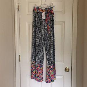 Multi color wide leg flare pants